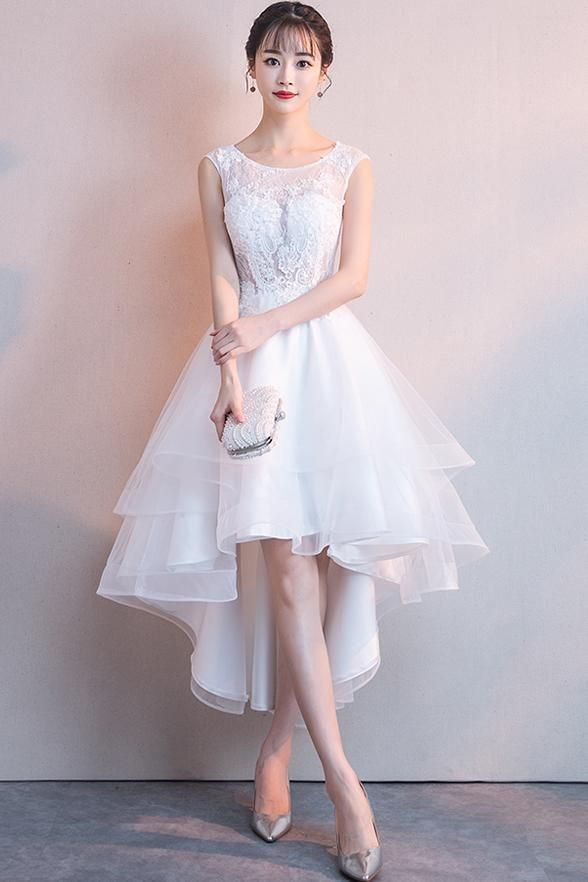 0ae62ac5fe8 Front Short Long Back See Through White Lace Prom Dresses Graduation  Homecoming Dress LD1261