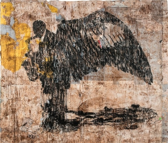 Sassofonista, 2013  mixed medium on paper, cm 170x198
