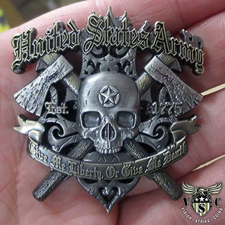 """2"""" US Army Give Me Liberty Or Give Me Death double side Military Challenge Coin #Vision"""