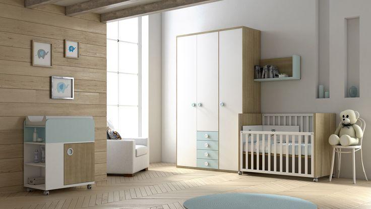 Diseño súper elegante para la cuna Momo con mueble cambiador y armario.