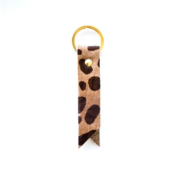 Leopard Leather Keyring Metallic Leather Key Fob by gmaloudesigns