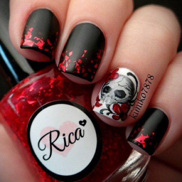 Blood of Lilith custom hand crafted nail polish by justricarda. Cool skull accent nail art.