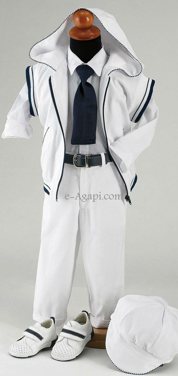 7 pcs greek Baptism Christening Baby boy white / blue costume