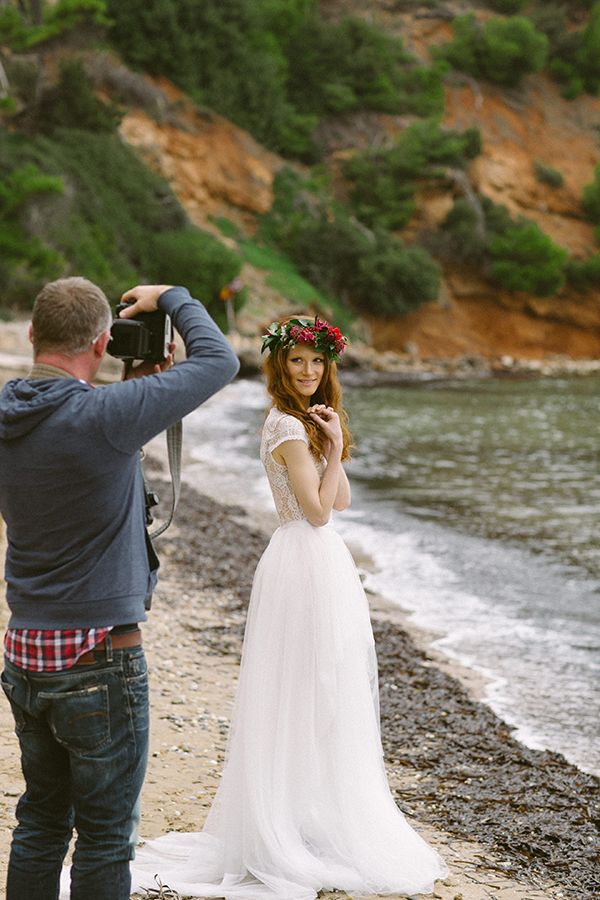 Backstage dreamy red winter bridal shoot on the beach  See more on Love4Weddings  http://www.love4weddings.gr/backstage-dreamy-red-winter-bridal-shoot-beach/  Photography by YIANNIS SOTIROPOULOS   http://www.yiannissotiropoulos.com/