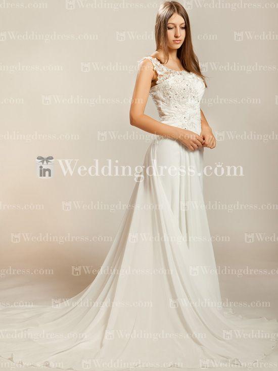 Chiffon One-Shoulder Wedding Dress with Lace   http://www.inweddingdress.com/style-bc221.html