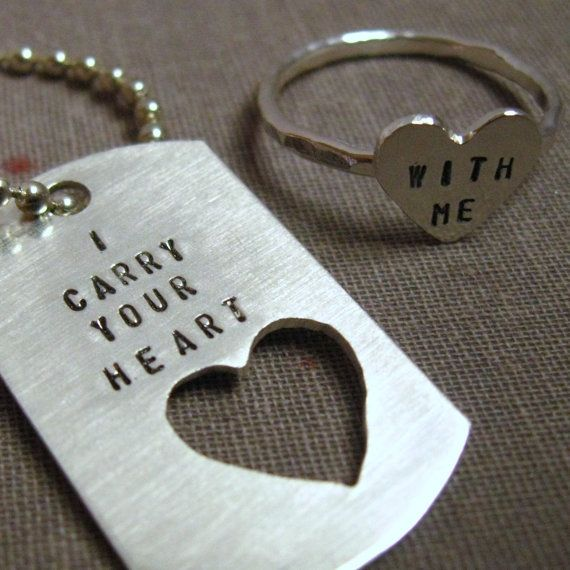 I Carry Your Heart With Me....I Carry It In My Heart.: Dogtag, Couple Gifts, Sweet, Cute Idea, Jewelry, Rings, Gifts Idea, Dogs Tags, Boyfriends