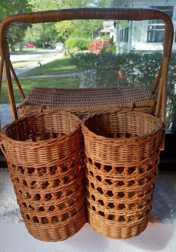 Vintage wicker picnic basket with wine holders by TimDebsWhatNotShop on Etsy