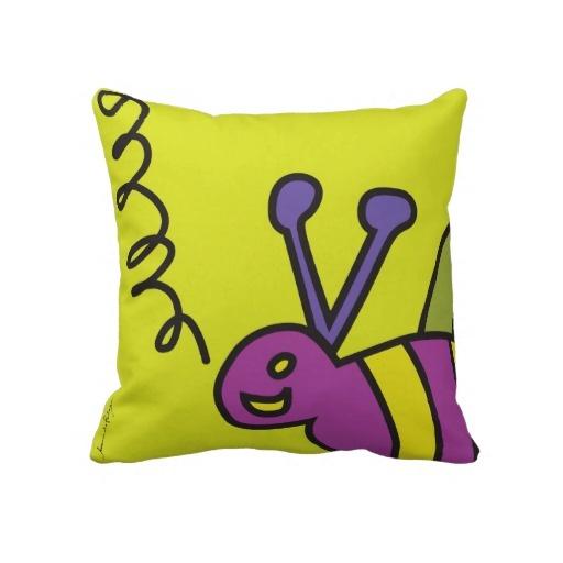 """Pillow Bee"" - Visit my store - http://www.zazzle.com/joanadematos"