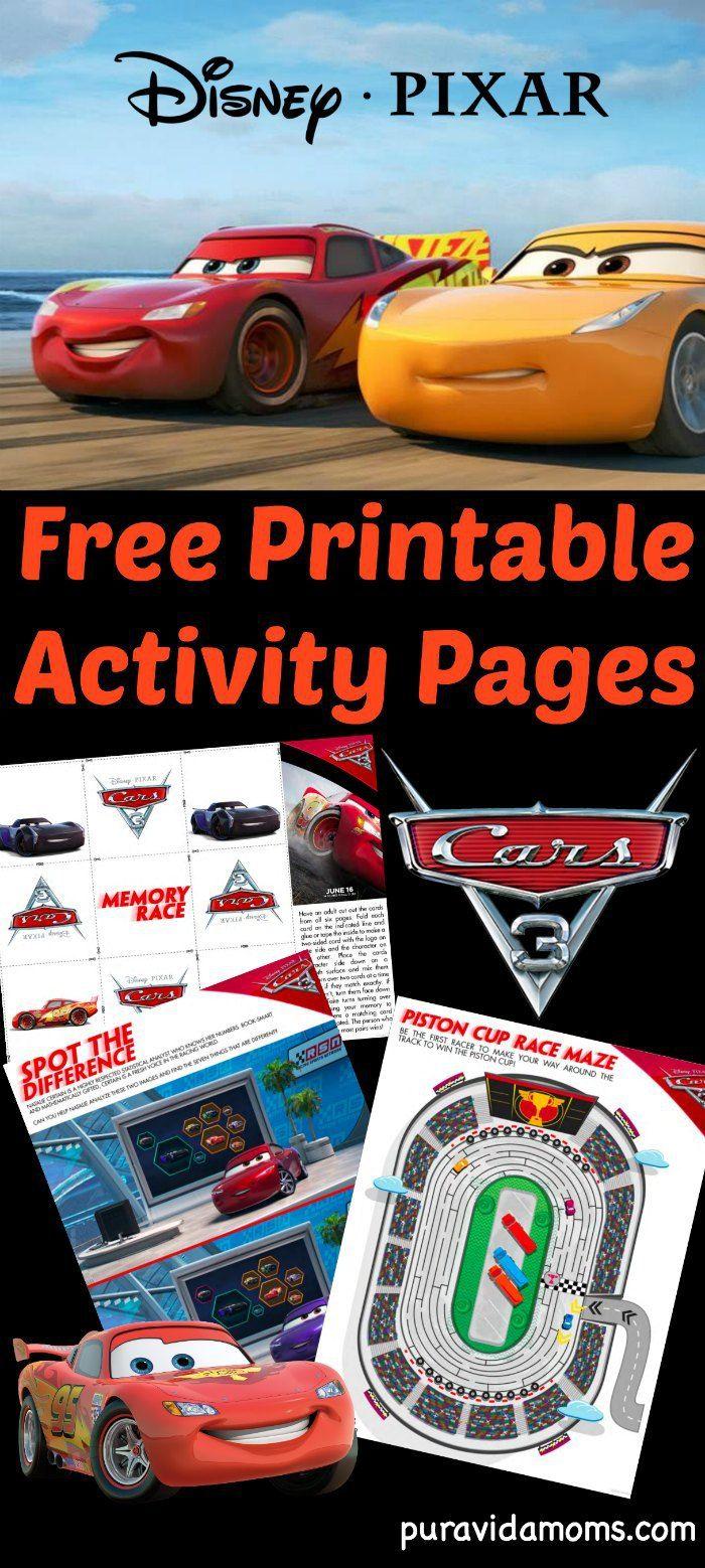Disney-Pixar Cars 3 Activity Pages {Free Printable} - Pura Vida Moms