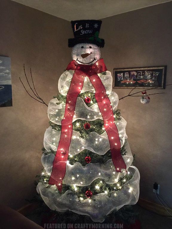 "This beautiful snowman Christmas tree was made by Heather James Moorehead! She did a lovely job and now we all want one :-) She was so kind to share how she made it! Materials Needed: Charger plate Bucket Black spray paint Gorilla glue Scissors/knife/pliers Fake snow Branches Buttons Directions: ""The hat is a charger (plate) …"