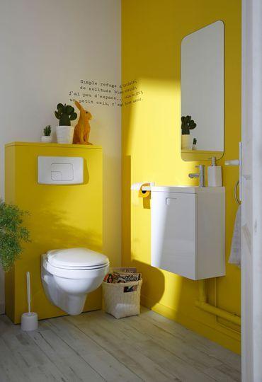 Osez le jaune pour la déco des toilettes - Peinture : le jaune déride la déco - CôtéMaison.fr