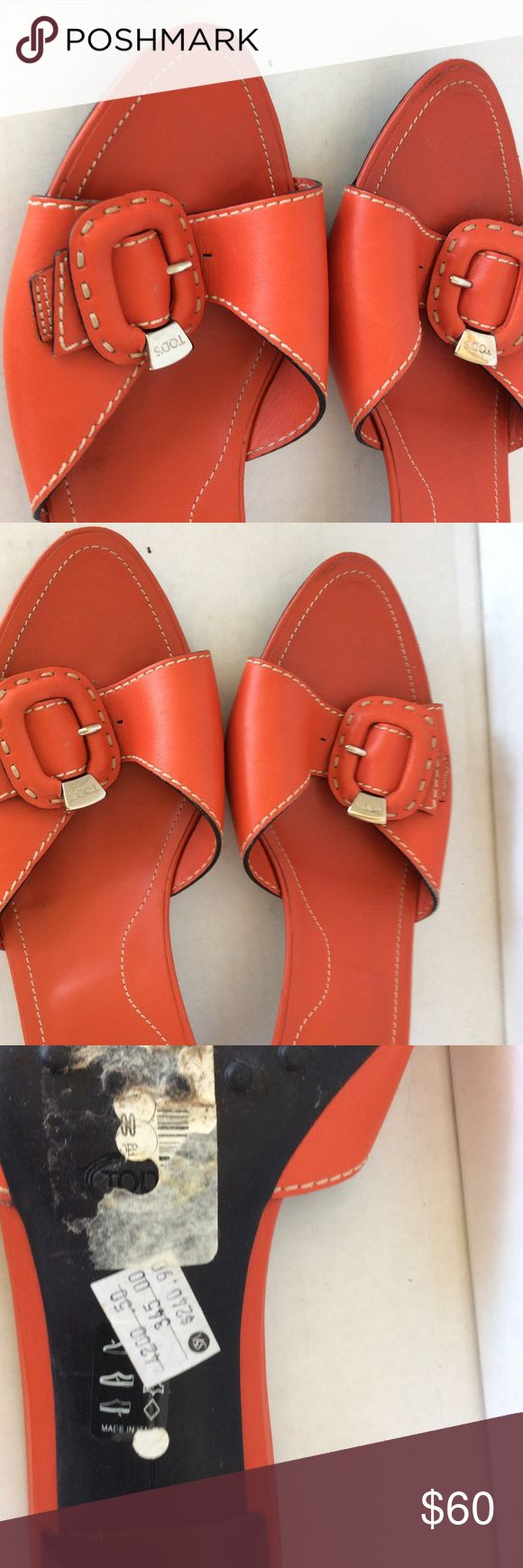 Tod's orange sandal size 10.5 Made in Italy Tod's orange sandal with tonal stitching metal hardware . Made in Italy. Pristine condition Tod's Shoes Sandals