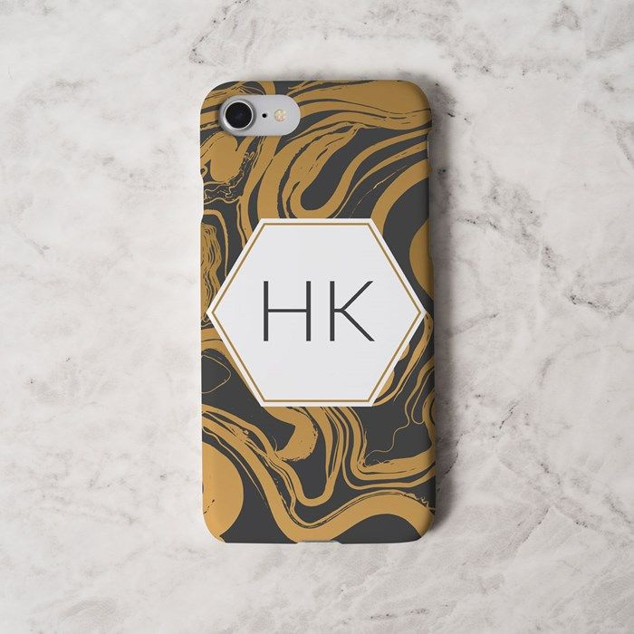 Personalised iPhone Snap Cover - Gold Marble | GettingPersonal.co.uk