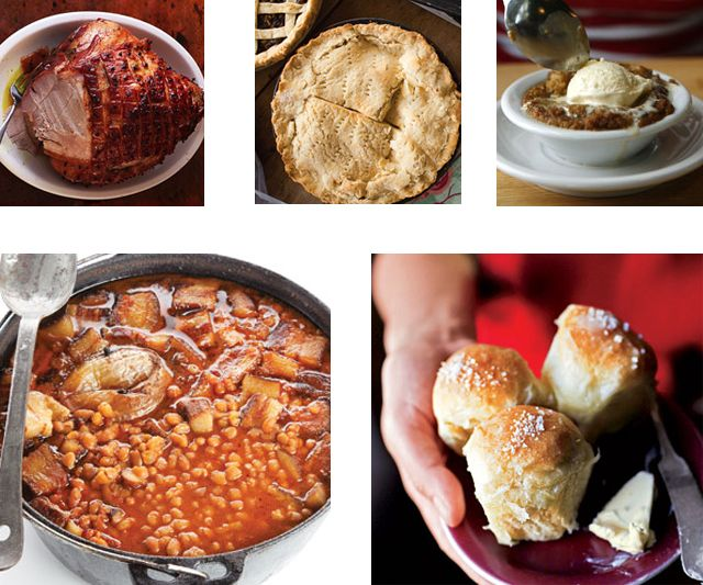 "The Saturday baked bean ""suppahs"" senior editor Gabriella Gershenson encountered in Maine are the inspiration for this dinner menu. Served with plenty of soft rolls, homemade brown bread, roasted ham, slaw, and more, baked beans make a hearty dinner for a crowd of eight."