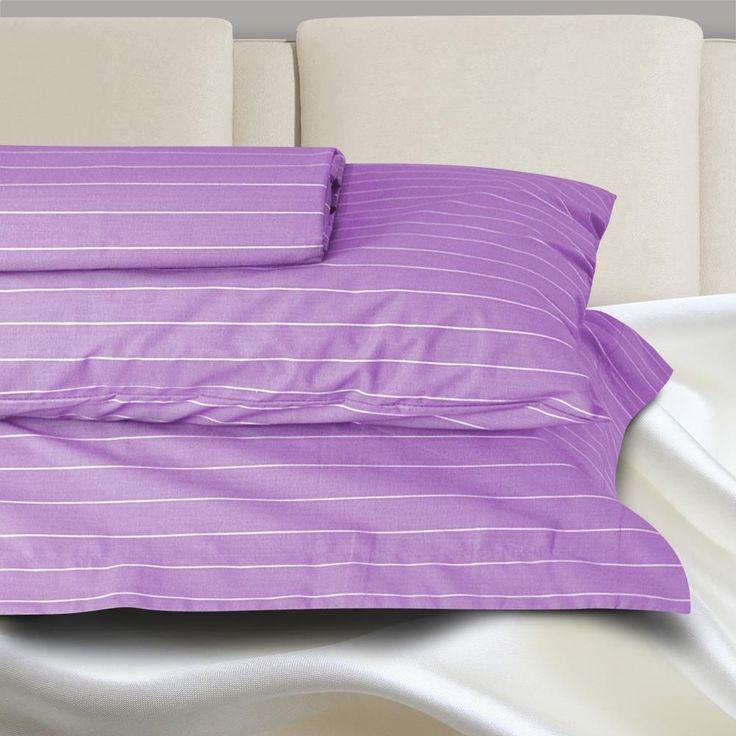 Σεντόνι Μονό Με Λάστιχο Basic Line Stripe Purple