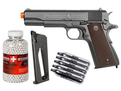 Colt 1911 CO2 Metal Blowback Airsoft Pistol, Kit. Airsoft guns
