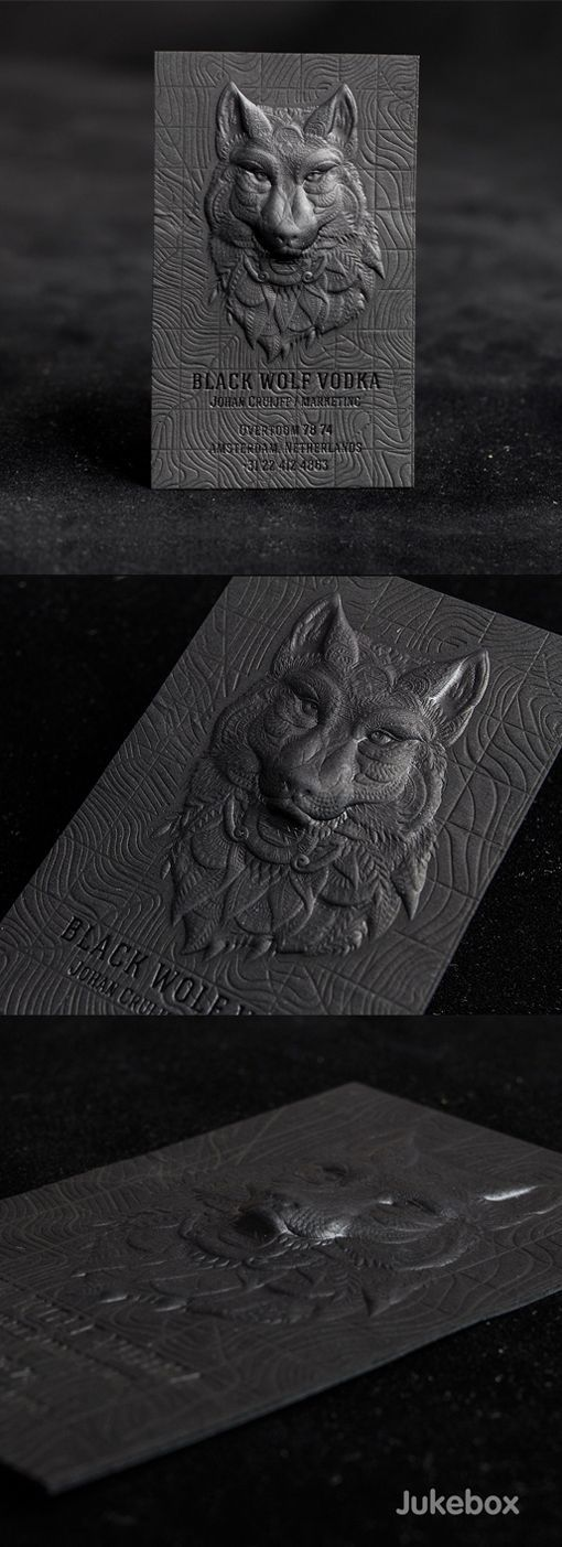 business art.   Black Wolf Vodka 3D Embossed Business Card by Jukebox