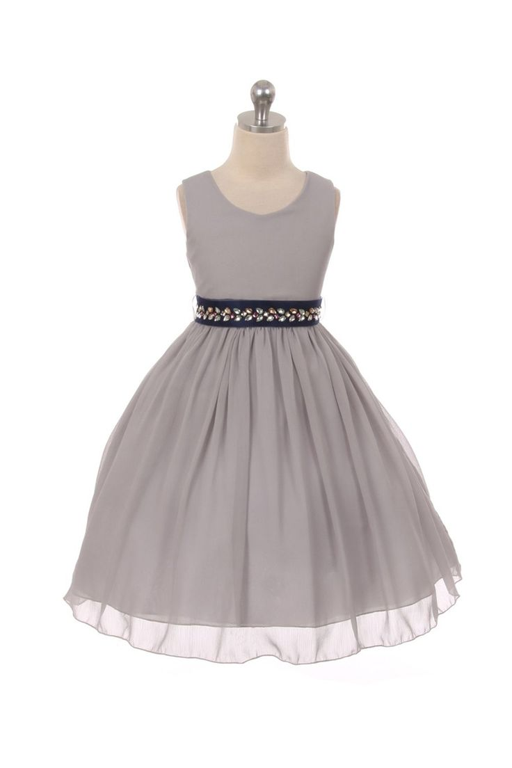 Silver Classic Ruched Chiffon Flower Girl Dress
