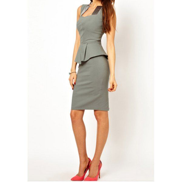 Stylish Square Neck Color Matching Sleeveless Women's Peplum Dress #lily