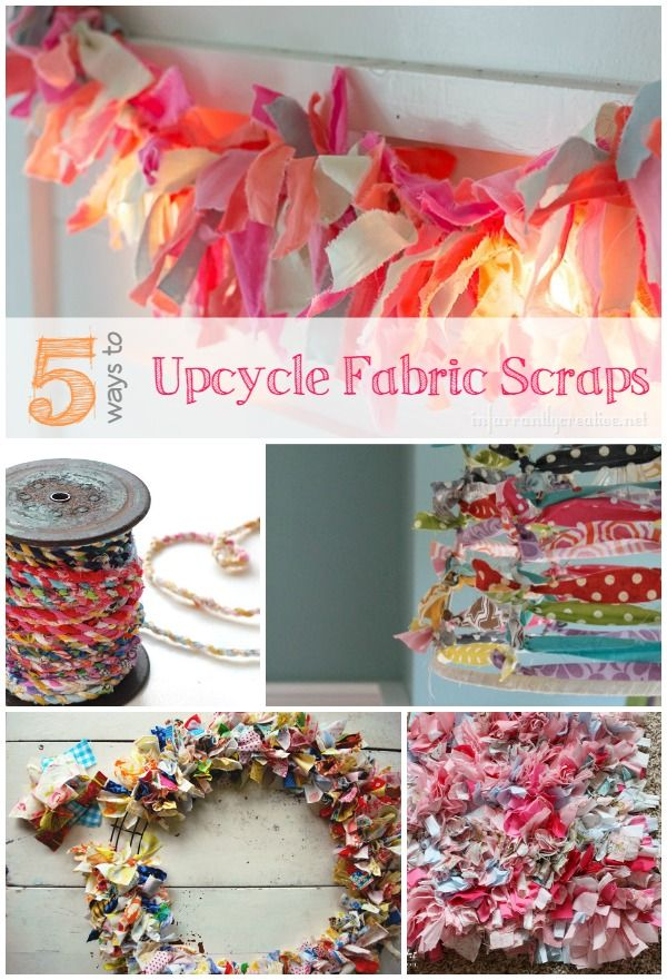 Utilize your old scraps or favorite fabrics and make something crafty like a wreath or garland! Here are five creative upcycling ideas from Infarrantly Creative.