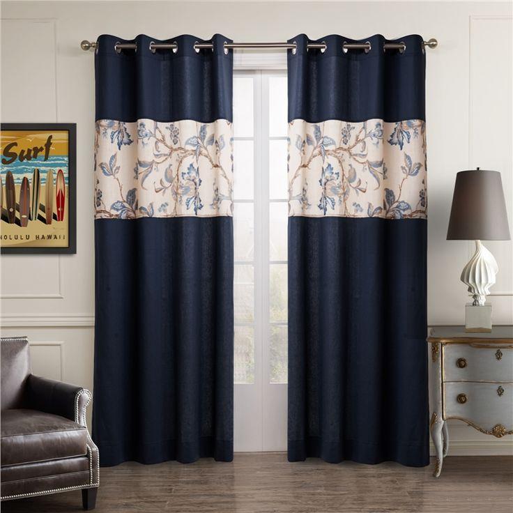 遮光カーテン 北欧カーテン ジャガード インディゴブルー 麻&綿 3級遮光カーテン(1枚)