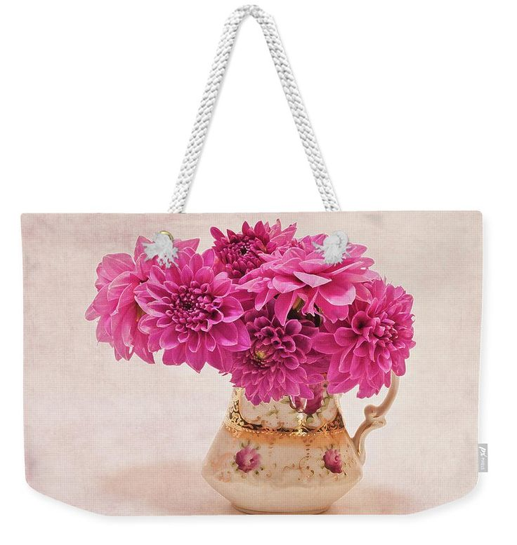 Dahlia Weekender Tote Bag featuring the photograph Sweet Blossoms by Sandra Foster. Sweet Blossoms - Magenta Pink Dahlias in Vintage Pitcher by Sandra Foster  #pinkflowers   #pink_dahlias   #pink_dahlia_still_life   #floralphotography   #floraldesign   #floral_still_life   #floral_work   #floralphotography  #sandrafoster #sandrafosterpixels #sandrafosterfineartamerica
