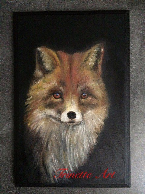 Fox on wood oilpainting