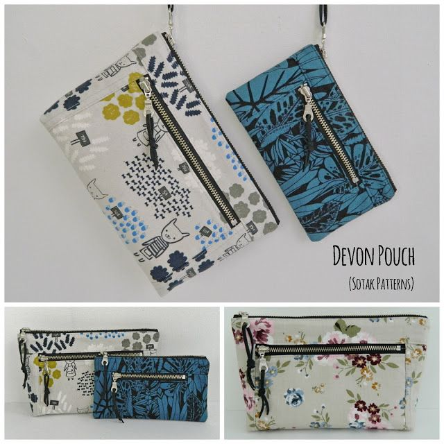 Hello everyone! I'm super, super excited to show off my newest pouch pattern today, yay! This is Devon Pouch. A double zipper, super handy pouch that comes in two sizes. Large one would make a fabulo