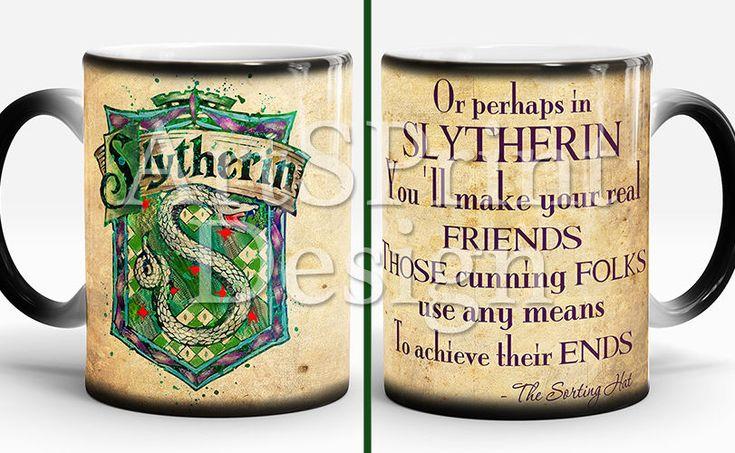 Slytherin Crest Quote Mug Harry Potter Mug Watercolor Color Changing Coffee Mug