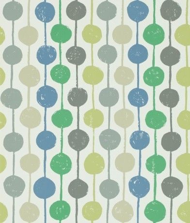 Taimi (111121) - Scion Wallpapers - An all over wallpaper design featuring delightful stripes and circles. Shown here in the apple, slate and ivy colourway. Other colourways are available. Please request a sample for a true colour match. Paste the wall product. Large scale pattern repeat.