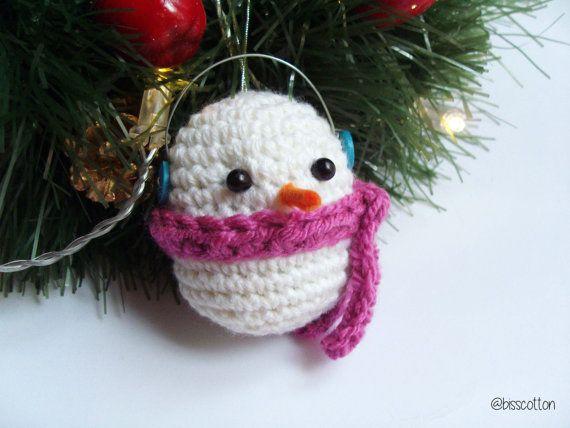 Pupazzo di Neve, Palla per Albero di Natale, decorazione albero di natale, amigurumi, palline di Natale all'uncinetto