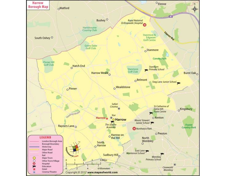 Harrow Borough Map, London