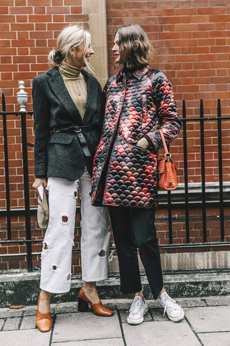 Street Style_ blazer layered back with roll neck sweater paired with denim cropped pants (decorative holes : opitional) : printed quilted jacket worn with skinnies and white casual sneakers : orange accessories MUST HAVE SS17 || Saved by Gabby Fincham ||