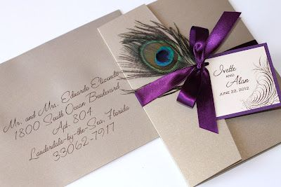 Purple Peacock wedding invitation +/- the feather