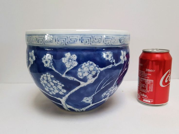 Vintage Chinese Blue & White Plant Pot Prunus Patern