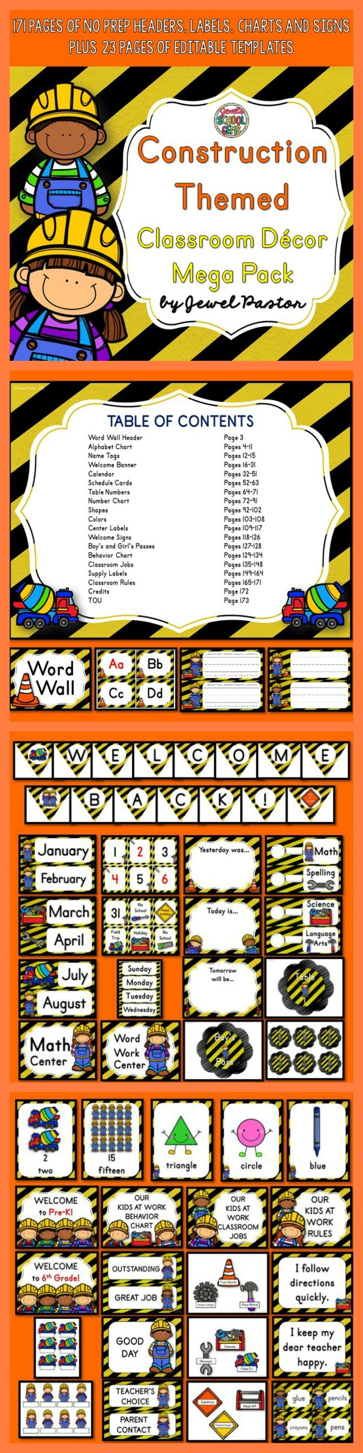Construction Theme : Construction Theme  Bring cute kids at work in your classroom with this Construction Themed Classroom Decor Mega Pack. It comes with 171 pages of NO PREP HEADERS, LABELS, CHARTS AND SIGNS plus 23 pages of EDITABLE PARTS/TEMPLATES.