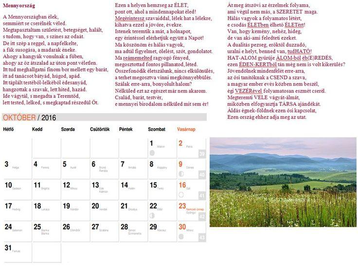 NAPtár tizenegyedik oldal  Saját verseimből szerkesztett NAPtár a 216-os évre sok SZERetettel. :)