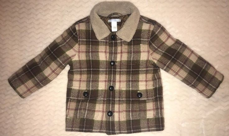 Janie and Jack Brown Plaid Boys Coat Size 2T 3T Wool Blend  | eBay