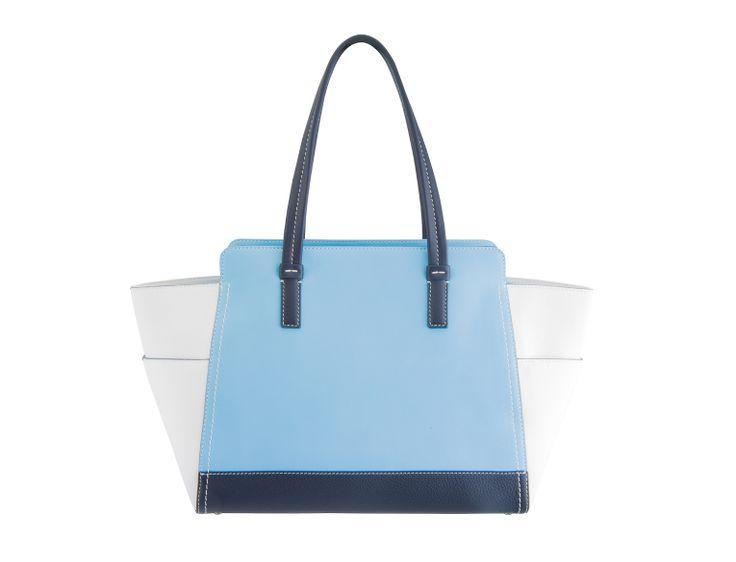 This beautiful tote is a perfect combination of soft textured Italian calf leather in white and tender blue, decorated with impeccable white stitches.  The spacious design of the Natalia bag will be in good use, holding an iPad, cosmetics case, wallet and all the other daily essentials. It can be the best choice when you need to add style not only to everyday looks but also the weekends away.