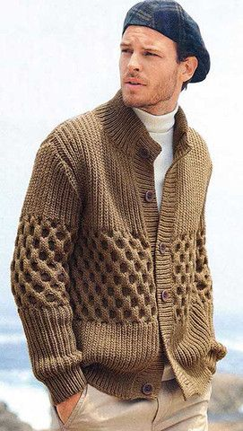 Men's hand knit buttoned cardigan 14A