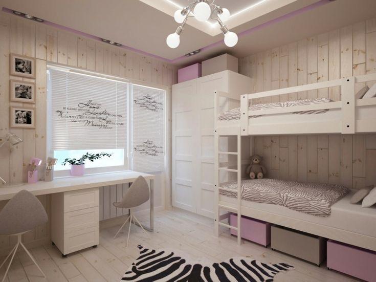 papier peint imitation lambris, un bureau double et un lit superposé dans la chambre deux enfants