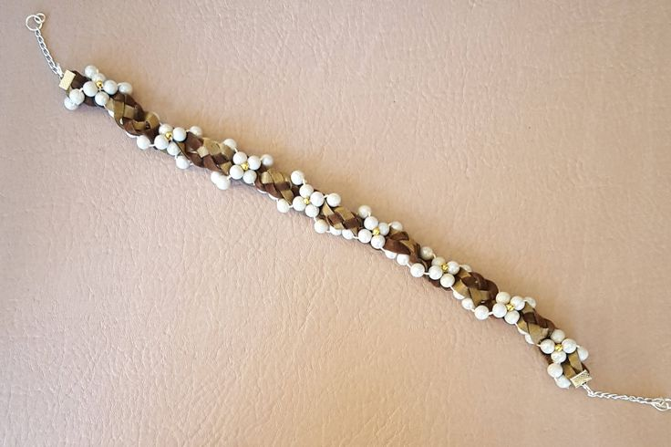 Shades of Brown Braided Choker Necklace with White Beads Embellishment by KalaaStudio on Etsy