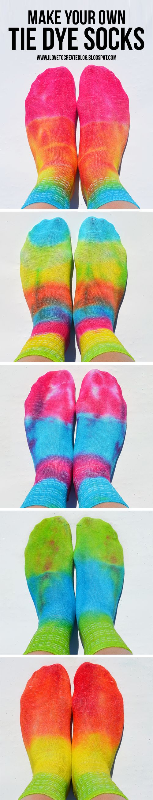 Learn how to make your own tie dye socks! So easy and fun!!!