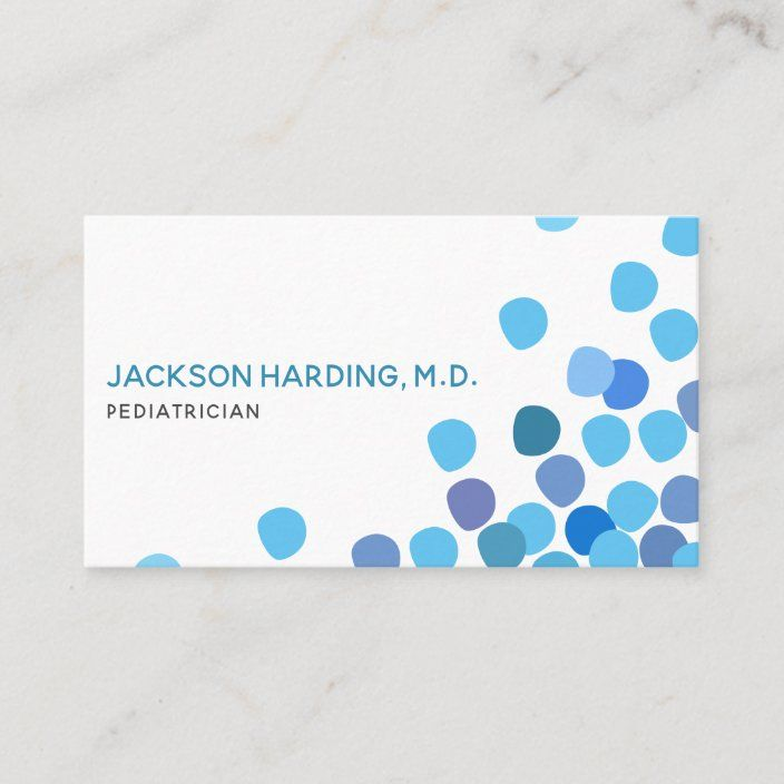 Modern Blue Dotted Pediatric Business Card Zazzle Com Doctor Business Cards Medical Business Card Cards