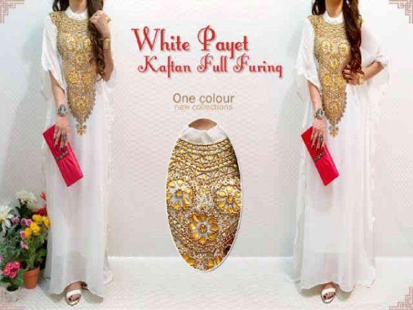 #BusanaMuslim #Jilbab Kaftan White payet full furing