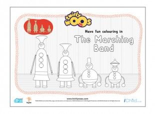Children can colour in this picture of the Marching Band. Look at the tallest and shortest together!
