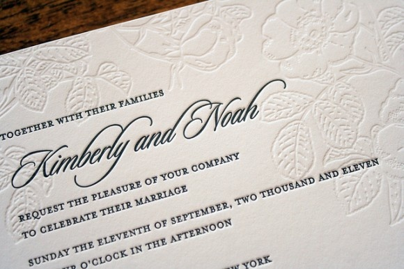 46 best janes wedding invite images on pinterest invitation ideas floral letterpress wedding invitation blind emboss stopboris Gallery