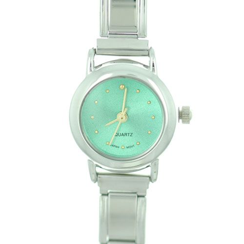 Italian Charms - round green christmas watch st.  patrick' s day italian charms fashion jewelry hand painted italian charm watch Image.