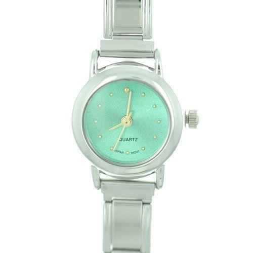 Italian Charms - round green christmas watch st.  patrick' s day italian charms fashion jewelry hand painted italian charm watch Image.