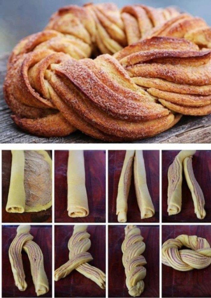 Zimtbrot oder auch Zimtkringel genannt. Zimt auf den Teig verteilen, rollen und dann durch die Mitte schneiden. Dann flechten und verbinden. Fertig! Noch mehr Rezepte gibt es auf www.Spaaz.de